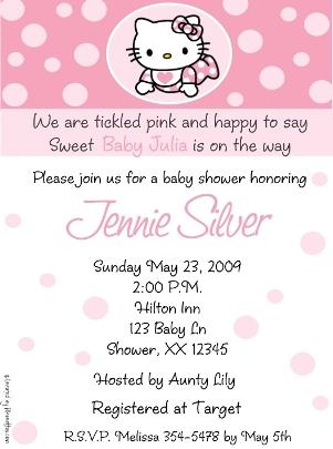 Estilo de invitaciones para baby showers: Hello Kitty